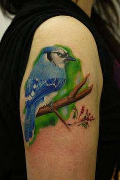 This is Glen. My new addition to what will at some point be my bird sleeve. by John Anderton at Nemesis.  The rest of it is here http://29.media.tumblr.com/tumblr_lvnefjcSho1qzabkfo1_1280.jpg