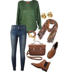 A fashion look from October 2013 featuring sequin blouse, skinny leg jeans and brown saddle shoes. Browse and shop related looks. Fall Outfits, Casual Outfits, Cute Outfits, Fashion Outfits, Womens Fashion, Fashion Trends, Relaxed Outfit, Casual Chic, Autumn Winter Fashion