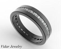Black Gold Baguette Cut Diamond Wedding Band For by Vidarjewelry