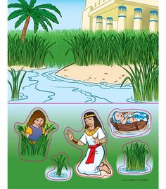 Baby Moses Sticker Pack - $2.50 for set of 6 - not full-size page - This is one of the stories the kids are learning, the price is very good.