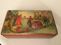 1950s Wooden Trinket Box Decorated with An by oldfangledcool