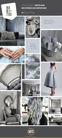 Moodboard traz referências de uso da cor Cinza Dove Gray, aposta para o próximo ano e que também pode ser aplicada em mobiliário
