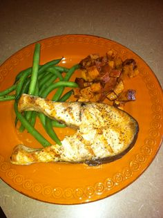 Seasoned salmon filet with Everyday Grillin' Seasoning and buttered and cinnamon sweet potatoes!  Mmm...Mmm...good!