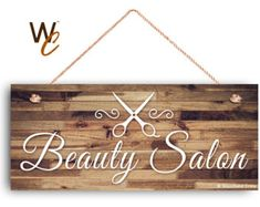 """Beauty Salon Sign, Company Sign, Business Sign, 6""""x14"""" Sign, Rustic Decor, Salon Door Sign, Signs by Woodland Crew"""