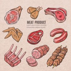 Meat Products Color Sketches