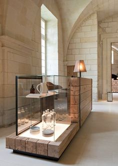 Paris design duo Jouin Manku redesigned the interior of an old Saint-Lazare monastery, creating Abbaye de Fontevraud - a magnificent hotel and restaurant. Commercial Design, Commercial Interiors, Restaurant Design, Hotel Restaurant, Store Concept, Jewelry Store Design, Counter Design, Retail Interior, Deco Design