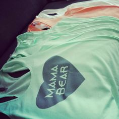#mamabear racerback tanks! Shown in Mint, light/creamy orange and white =)
