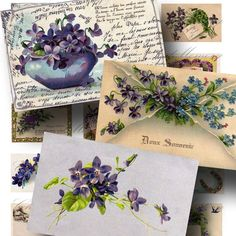 Vintage Violets Postcard Collage Sheet by Charmed Memory Collage on Etsy