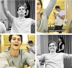 Daniel & Dylan being adorable and waving at each other .gif