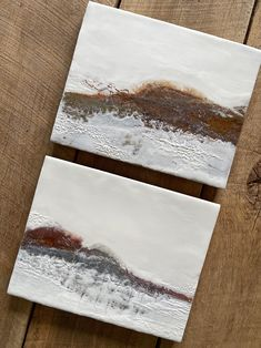 """Original encaustic paintings by Tamara Lepianka. This is a set of two 8x10 inch paintings. Encaustic and mixed media on wood panel with a .75"""" cradle. The edges are finished in a light brown pigmented shellac as shown. The paintings are wired and ready to hang. 8 x 10 x .75 in 