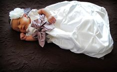 Dupioni Silk Baby Girl Blessing Christening Dedication Baptism Confirmation Dress Gown