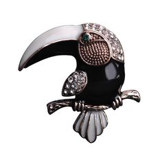 Cute Bird Brooch With Pin Crystal Enamel Black Corsage For Women Gold-Color Stainless Broche Femme Bijouterie Cartoon Icon #Affiliate