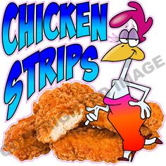 """14"""" Chicken Strips Tenders Nuggets Concession Trailer Restaurant Sign Decal  #SolidVisionStudio"""