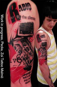 Radio Black & red tattoo