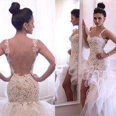 high low wedding dresses,backless bridal dresses 2015,short front long back wedding dresses