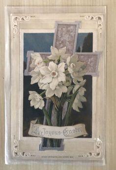 ~Nice John Winsch Foldout Silver Cross & Daffodil Flowers  Easter Postcard-p124 #Easter