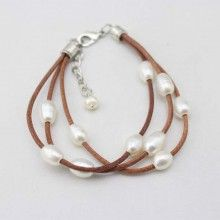 Light brown leather cord pearl adjustable bracelet, leather bracelet, wrap bracelet, ETS - B017