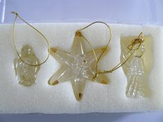 Vintage Spun Glass Tree Ornaments,Angel,Star, Bird by Saltofmotherearth on Etsy