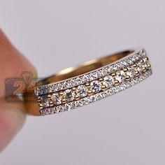 Womens 0.45 Carat 3 Row Diamond Vintage Style Band Ring 18K Yellow Gold