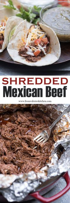tender and deliciously seasoned Shredded Mexican Beef can be used in a variety of Mexican-inspired dishes. It is super versatile and so easy to make! tender and deliciously seasoned Shredded Mexican Beef can be used in a variety Beef Steak Recipes, Beef Recipes For Dinner, Slow Cooker Recipes, Mexican Food Recipes, Cooking Recipes, Healthy Recipes, Beef Meals, Cooking Tips, Cooking Beef