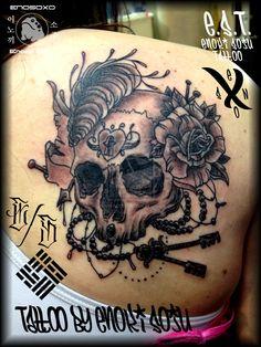 Skull and Rose Tattoo by Enoki Soju by enokisoju.deviantart.com on @DeviantArt