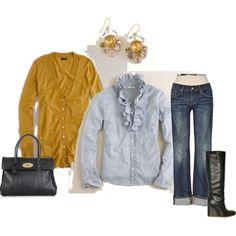 yellow cardigan, ruffle shirt