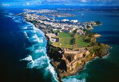 Ariel view of Castillo San Felipe del Morro, Old San Juan, Puerto Rico Marie Galante, Oh The Places You'll Go, Places To Visit, Old San Juan, Porto Rico, San Juan Puerto Rico, Puerto Ricans, Beautiful Islands, Beautiful Places