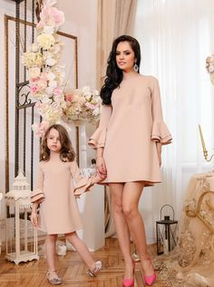 New Mother Daughter Dress Pretty Mummy and Me Christmas Dress Qulity Solid Flare Sleeve Knee-length Dress Fashion Family Clothes Mother Daughter Matching Outfits, Mother Daughter Fashion, Mommy And Me Outfits, Family Outfits, Kids Outfits, Baby Outfits, Family Clothes, Mommy And Me Dresses, Little Girl Dresses