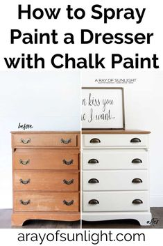 Can you use chalk paint in a paint sprayer? The best way to spray paint a dresser with chalk paint! Ditch the expensive spray paint cans and get a cheap paint sprayer to spray chalk paint on DIY Spray Paint Dresser, Chalk Spray Paint, Spray Paint Furniture, Distressed Furniture Painting, Dresser Refinish, Milk Paint, Chalk Paint Cabinets, Wood Dresser, How To Chalk Paint