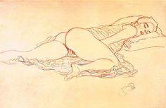 Gustav Klimt - Reclining Semi-Nude Facing Right (Pencil, red and blue pencil, 1914)