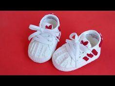 Booties Crochet, Crochet Baby Boots, Crochet Baby Sandals, Crochet Baby Clothes, Baby Booties, Baby Shoes, Crochet Patron, Shoe Pattern, Crochet Videos
