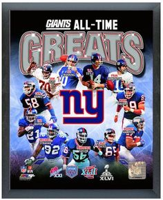 """New York Giants All-Time Greats 11"""" x 14"""" Photo in a Glassless Sports Frame"""