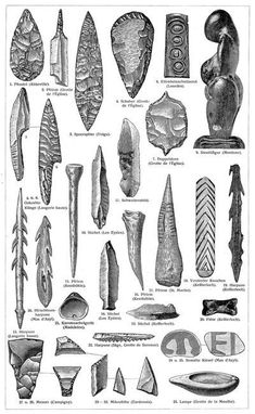 Cultural artifacts from the Stone Age II. The Younger Paleolithic. Native American Tools, Native American Artifacts, Indian Artifacts, Ancient Artifacts, Stone Age Tools, Primitive Survival, Archaeological Discoveries, Cultural Architecture, Bronze Age