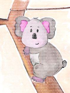 Cuadro bebe koala en árbol de peluche, pintado a mano con pintura y acuarela, para la habitación o cuarto de los más pequeños de la casa
