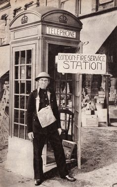 London's smallest fire station.  From Picture Post, September 16th 1939.