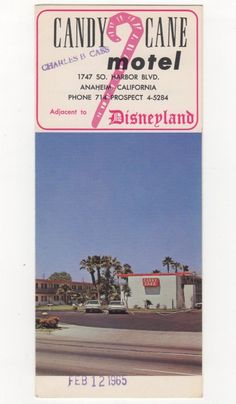 candy cane inn photos | Details about VINTAGE CANDY CANE MOTEL DISNEYLAND ANAHEIM BROCHURE ...