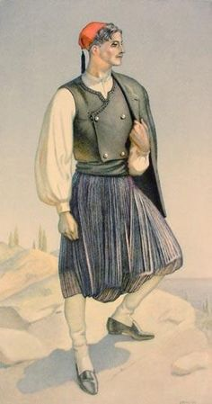 TRAVEL'IN GREECE I Vraka Corfu Greek Costume Greek Traditional Dress, Traditional Outfits, Costume Shop, Folk Costume, Greek Dress, Greek Men, Dance Costumes, Greek Costumes, Greek History
