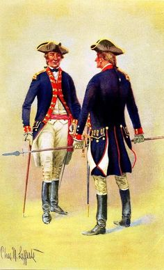 """Knox's Artillery"" Massachusetts Regiment of Artillery, 1775-1776. SOURCE: Uniforms of the Armies in the War of the American Revolution, 1775-1783. Lt. Charles M. Lefferts."