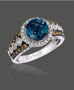 Le Vian - Blue Topaz, White and Chocolate Diamond Statement Ring /14k White Gold