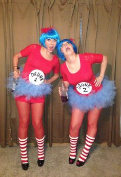 thing 1 and thing 2 halloween costume diy drunk 1 and drunk 2