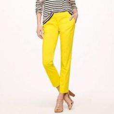J Crew Cafe Capris J. Crew Yellow stretch café capris size 2 excellent condition J. Crew Pants Capris