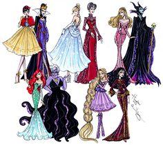 "Disney Diva: ""Princess vs Villainess"" by Hayden Williams Fashion Illustrations Disney Princess Fashion, Disney Princess Drawings, Disney Princess Art, Disney Fan Art, Disney Drawings, Disney Style, Disney Fashion, High Fashion, Cartoon Fashion"