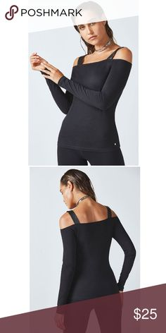 cc71774bff8 Fabletics Khloe L/S Open Shoulder Black Top Kate Hudson Fabletics Black  with Black Faux