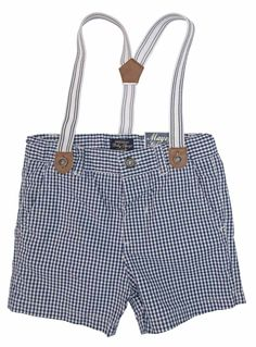 Mayoral Toddler Navy Checked Shorts With Braces