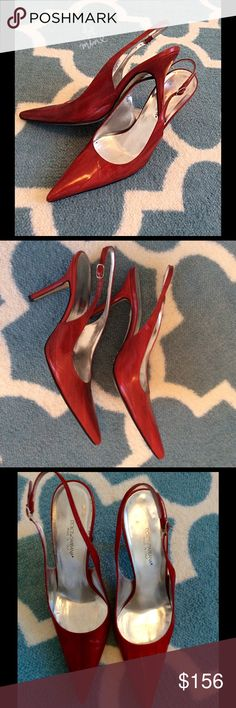 "Dolce & Gabbana Red Leather Heels These shoes are beautiful with a spring or summer dress! They are in great condition and have a 4"" heel. Dolce & Gabbana Shoes"