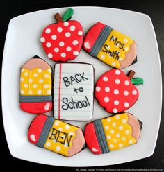 Back To School Cookies - a fun tutorial for school-themed cookies. These would be great for a Back To School Party or a Graduation Party for kids.