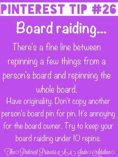 Yes, Pinterest is about sharing pins, but it does not mean copying someone pin for pin. Sometimes it takes months to get a board where you want it. Be original and create your own board. ⚠Please be advised- if you repin more than 10 at once, you will be blocked.