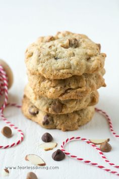 Gluten Free Slivered Almond Chocolate Chip Cookies are moist, chewy, and have a slight almond crunch that makes these hard to resist. Recipe at http://www.fearlessdining.com
