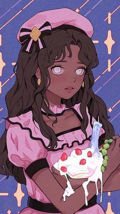 Black Cartoon Characters, Cartoon Art, Cute Cartoon, Black Girl Art, Art Girl, Kawaii Drawings, Cute Drawings, Aesthetic Anime, Aesthetic Art