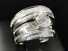 2.75CT Diamond Trio Set His Her Matching Engagement Ring Wedding 14K Gold Over #ElleDiamonds #TrioRingSet #Engagement